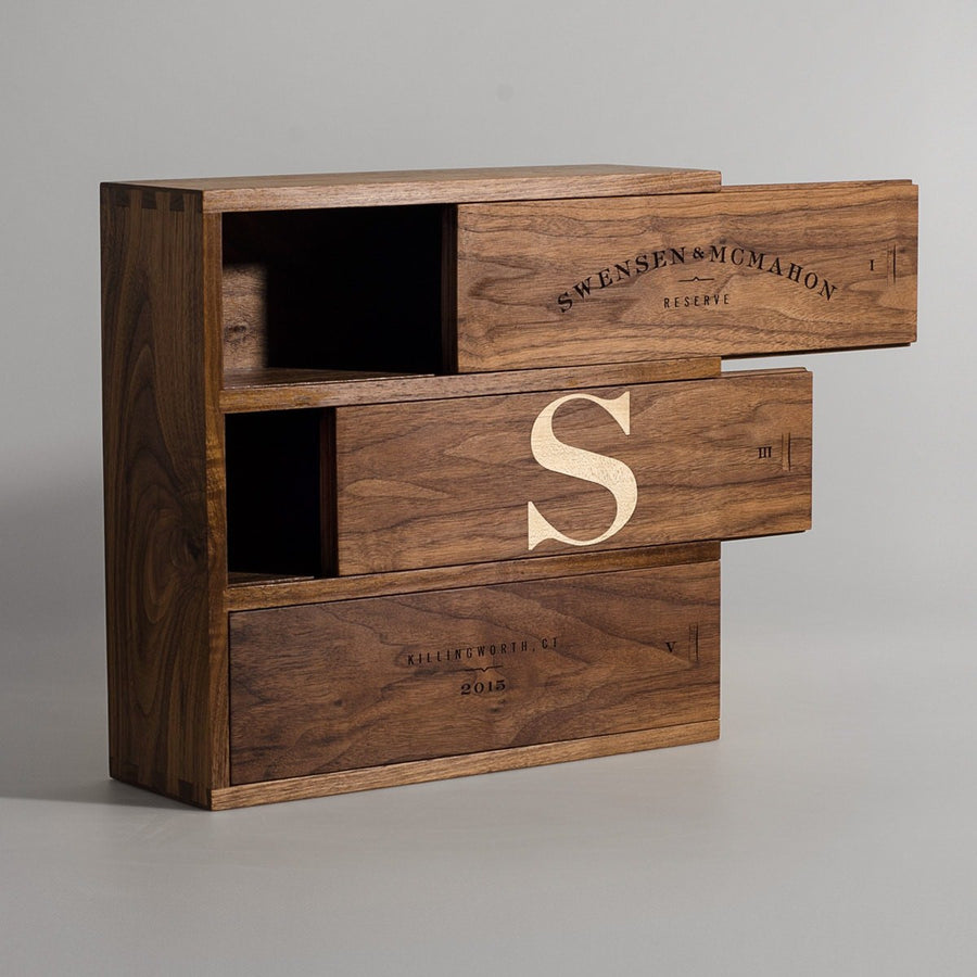 Walnut Trio - Inlaid Monogram Wine Box - Signature Series