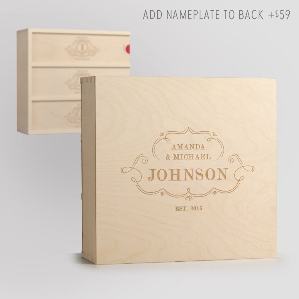 Charming Trio Wedding Wine Box with Nameplate Back
