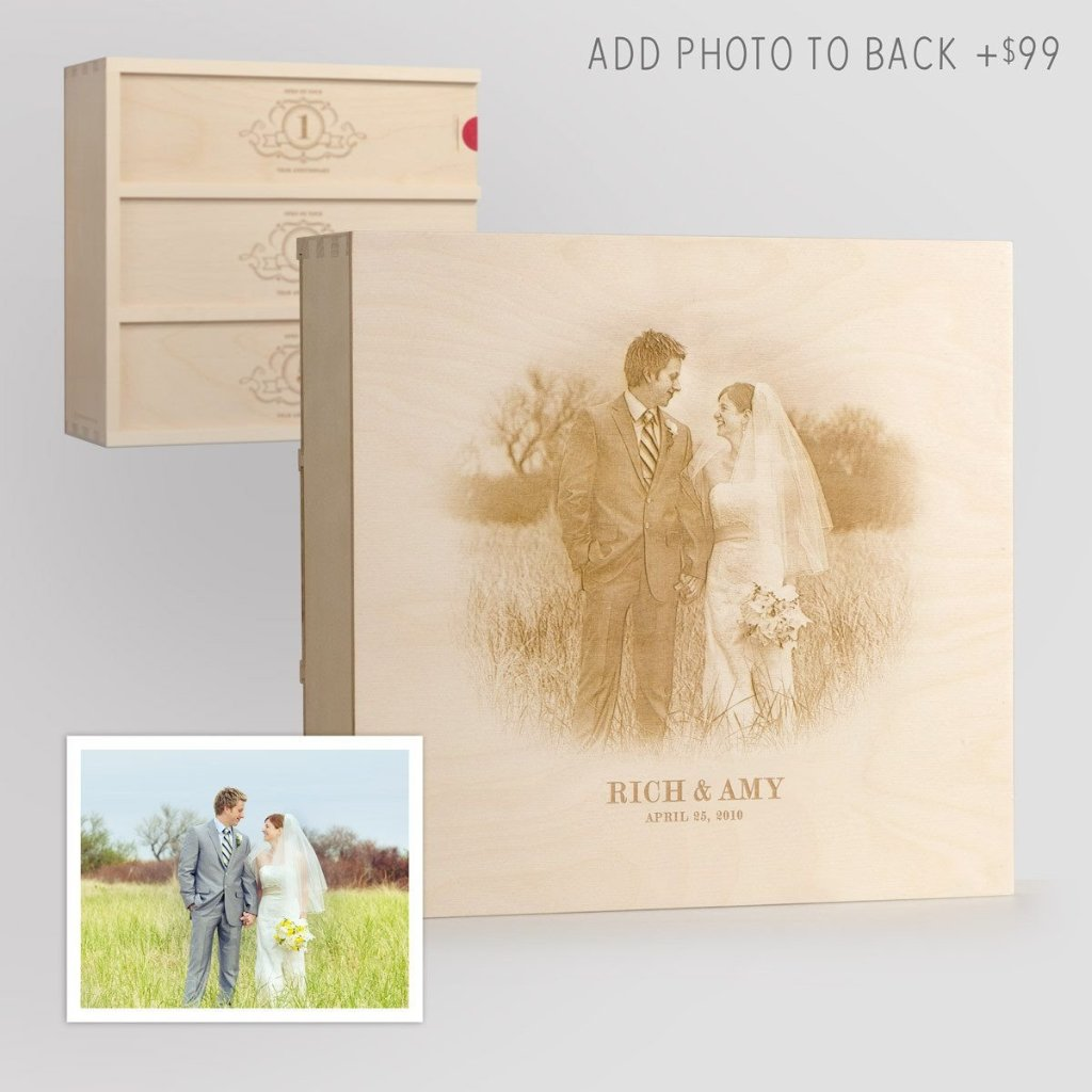 Charming Trio Wedding Wine Box with Photo Back