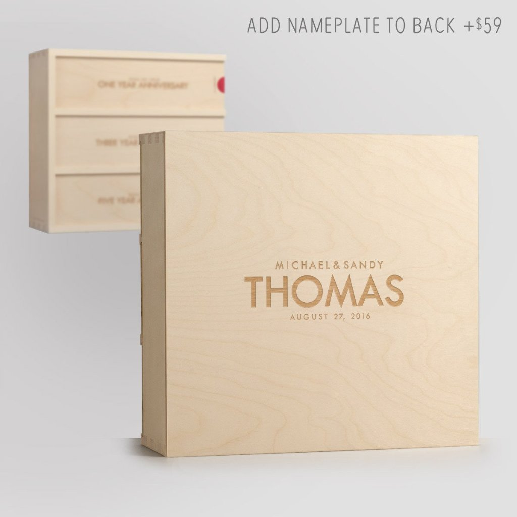 Nameplate on Back - Classic Trio Wine Box
