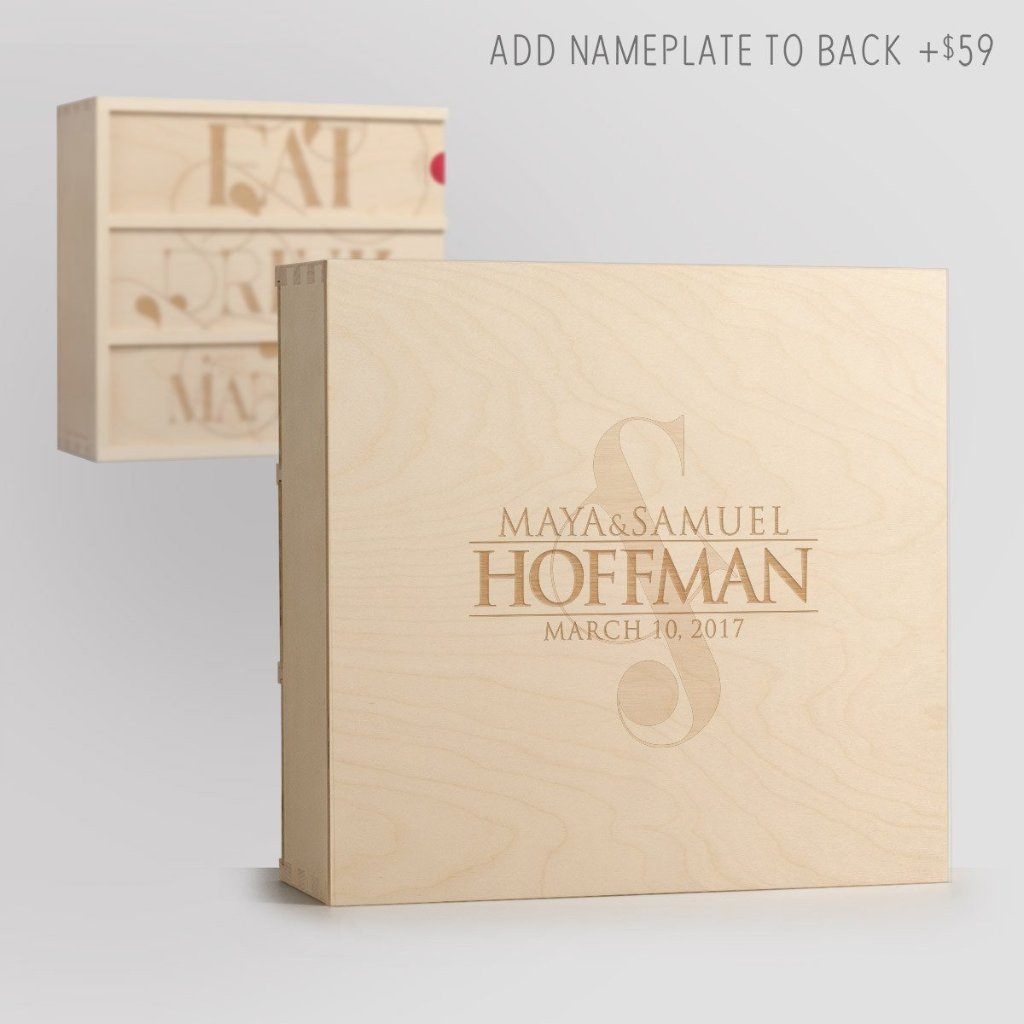Eat Drink & Be Married Anniversary Wine Box with Nameplate Back