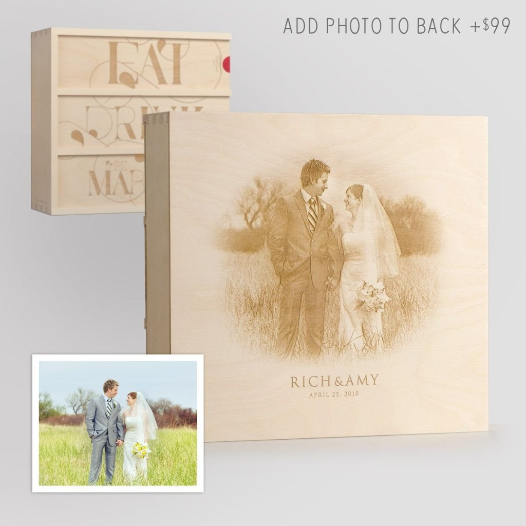 Eat Drink & Be Married Anniversary Wine Box with Photo Back