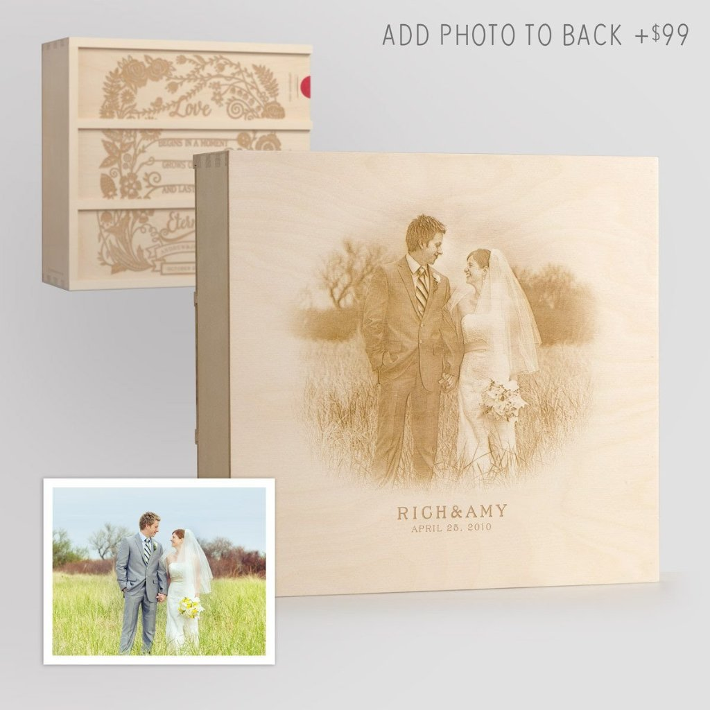 Eternal Love Anniversary Wine Box with Photo Back