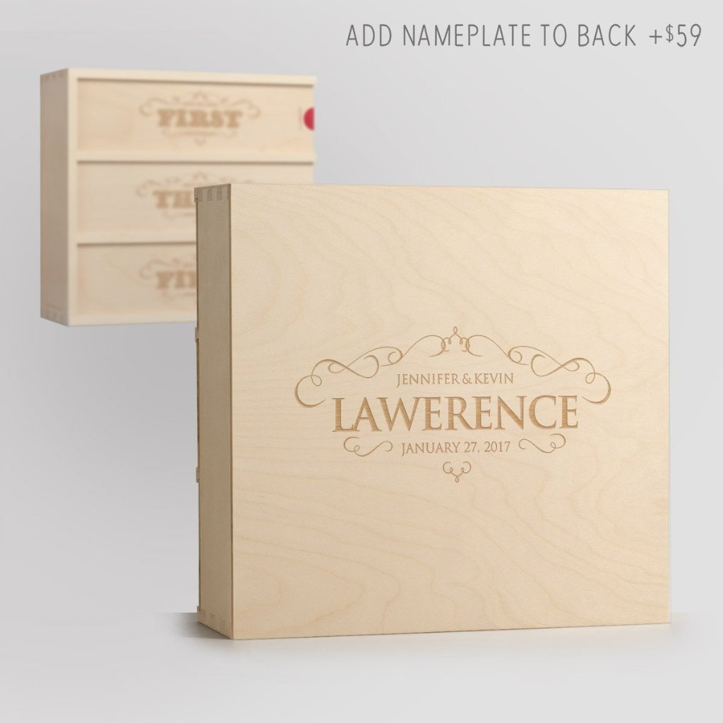Flourish Anniversary Wine Box with Nameplate Back