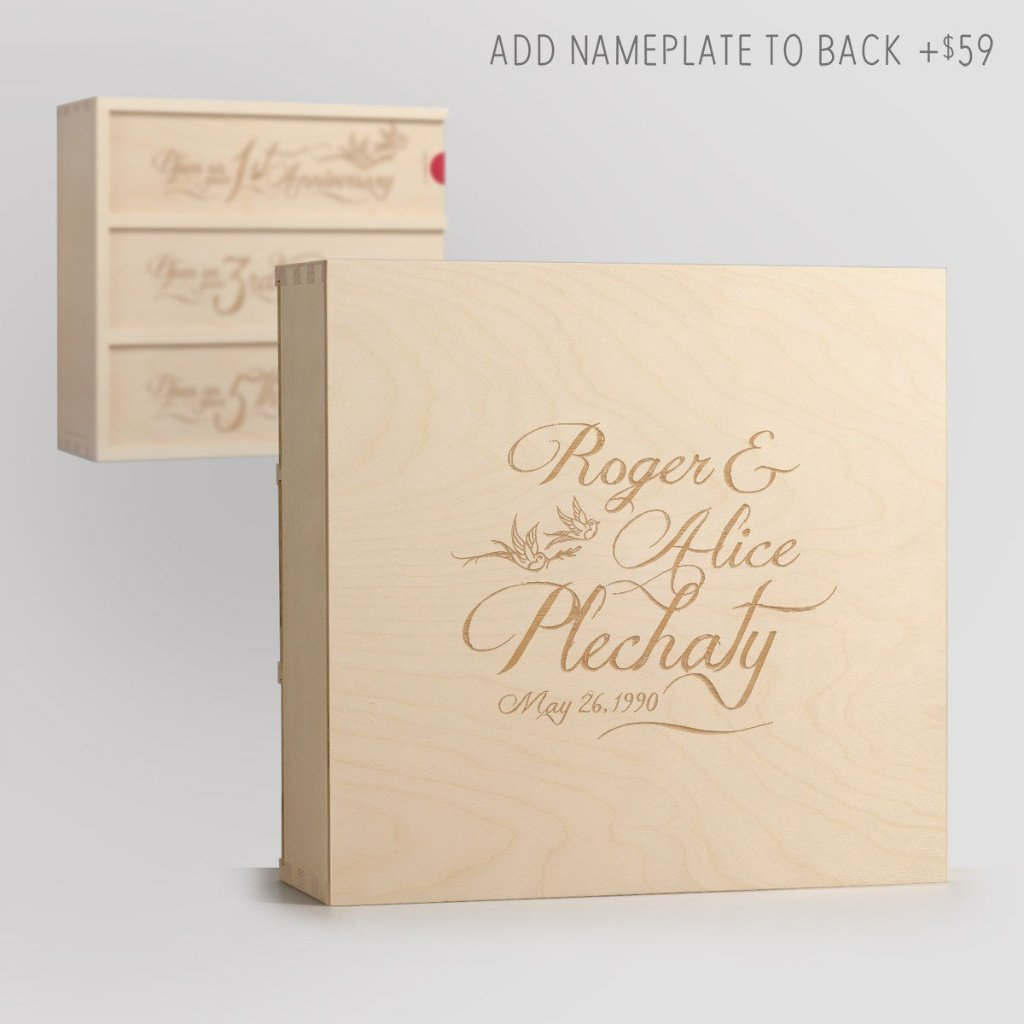 Love Birds Anniversary Wine Box with Nameplate Back