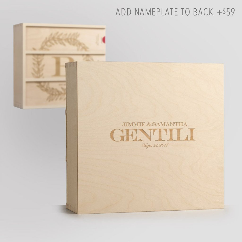 Nameplate on Back - Monogram Cottage Wine Box