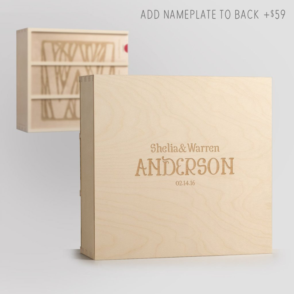 Monogram Deco Anniversary Wine Box with Nameplate Back