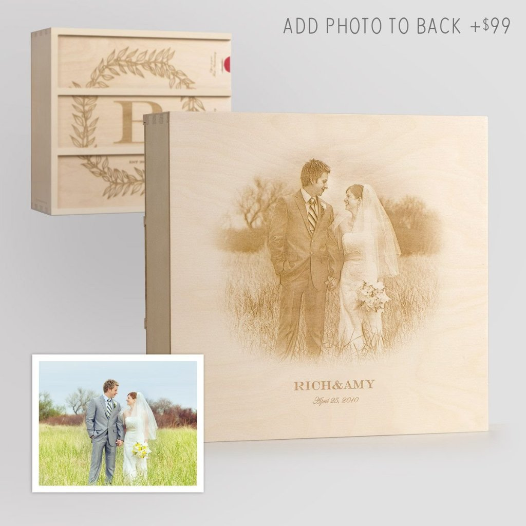 Monogram Cottage Wedding Wine Box with Photo Back