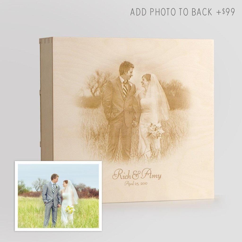 Engraved photo on back of wine box - WineforaWedding