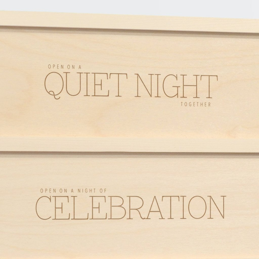 Three Nights Chic Wedding Wine Box Detail