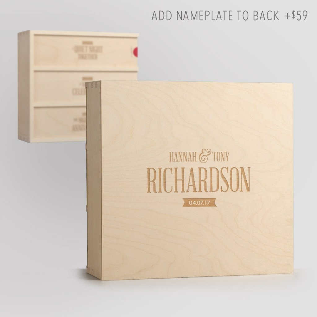 Three Nights Wedding Wine Box with Nameplate Back