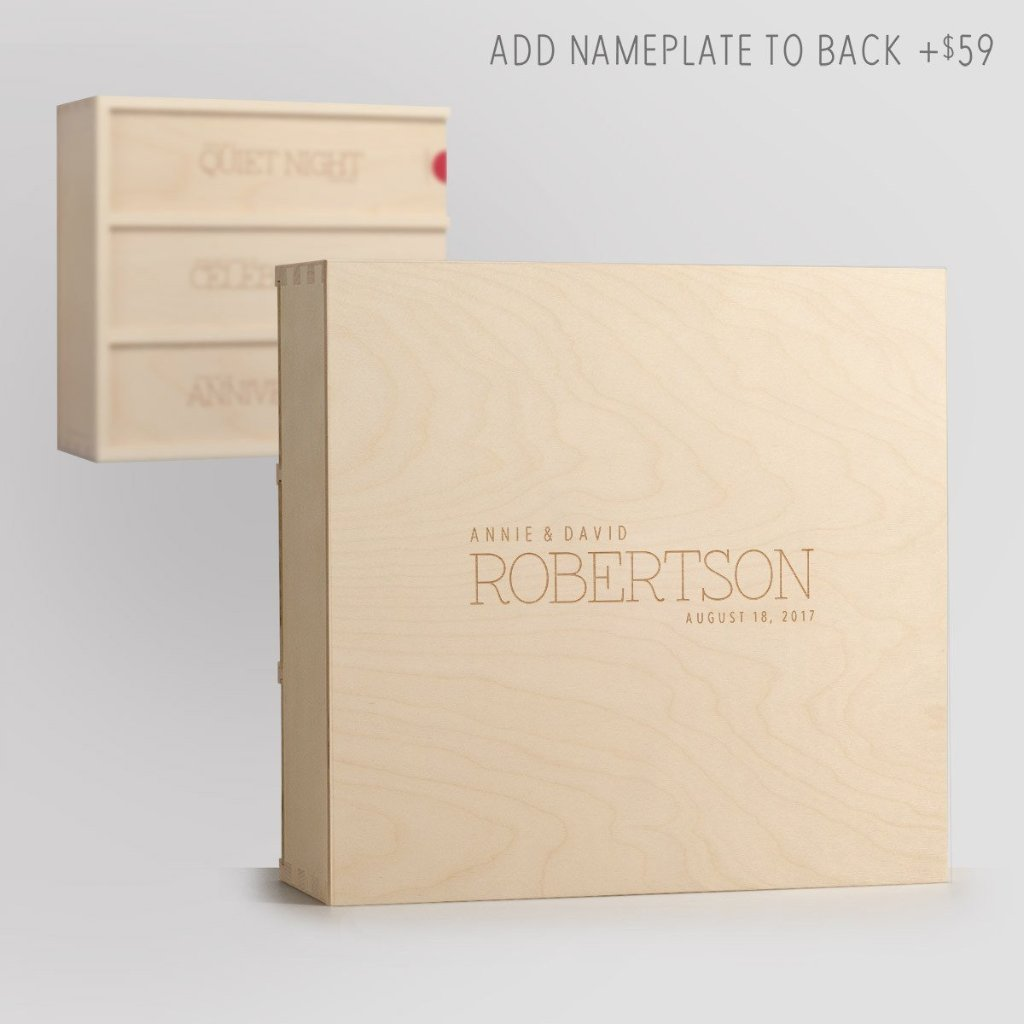 Nameplate on Back - Three Nights Chic Wine Box