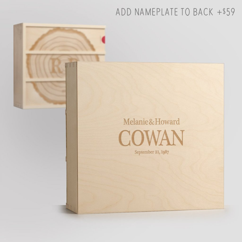 Nameplate on Back - With These Rings Wine Box