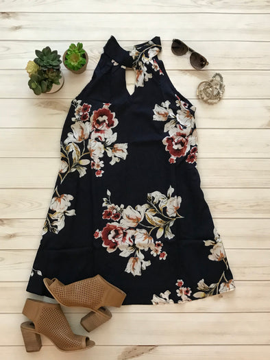 NAVY FLORAL TIE BACK NECK HALTER DRESS