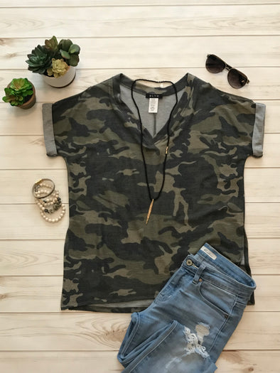 HIDDEN GREEN CAMOUFLAGE COLD SHOULDER TOP