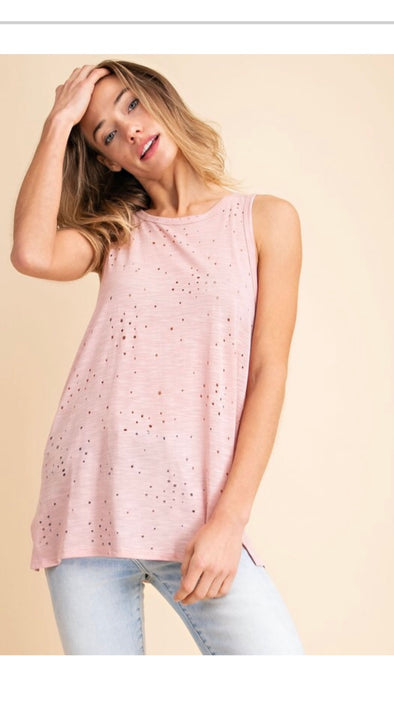 DISTRESSED SIDE SLITTED DUSTY PINK KNIT TANK