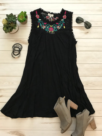 PURE JOY BLACK SLEEVELESS DRESS WITH EMBROIDERED YOKE