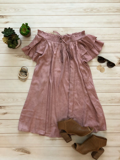PINK CRUSH CHAMBRAY OFF THE SHOULDER DRESS