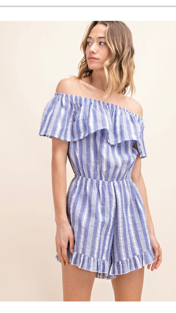 VERTICAL STRIPE OFF SHOULDER TIERED HEM POCKETED ROMPER