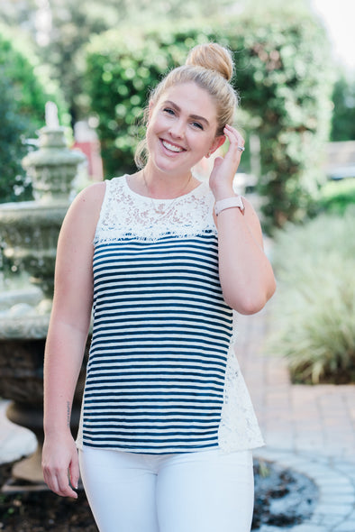 ERIKA NAVY & WHITE STRIPE SLEEVELESS SHIRT WITH CROCHET CONTRAST