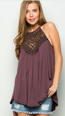 MEANT TO BE CROCHET LACE DETAIL TANK TOP