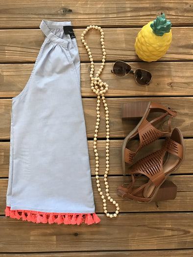 PARTY ON THE BOTTOM BLUE TASSEL TRIM TOP
