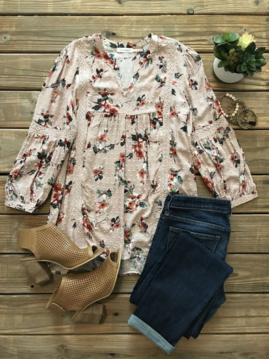 SIMPLE BEAUTY DUSTY PINK FLORAL TOP