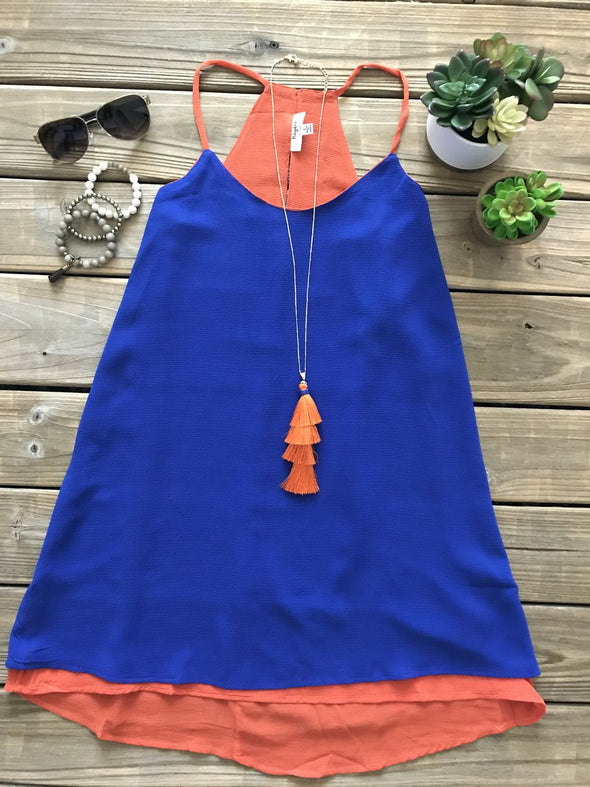 GAMEDAY ALBERTA BLUE & ORANGE TANK DRESS