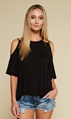 DATE NIGHT BLACK COLD SHOULDER DOUBLE STRAP TOP