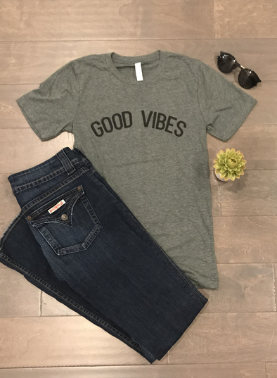 GOOD VIBES DEEP HEATHER GREY SHORT SLEEVE GRAPHIC T-SHIRT