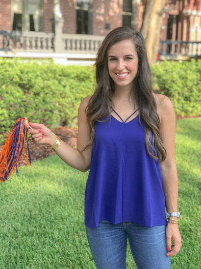 VICTORY ROYAL BLUE GAMEDAY SPAGHETTI STRAP TOP