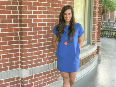 HALFTIME SHOW ROYAL BLUE GAME DAY SHORT SLEEVE DRESS