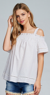 DEVOTED OFF SHOULDER STRIPED LACE TOP
