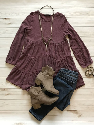 HARVEST THREE RUFFLES GRAPE TUNIC