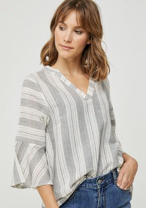 JENNY GREY & WHITE STRIPE V-NECK RUFFLE SLEEVE TOP
