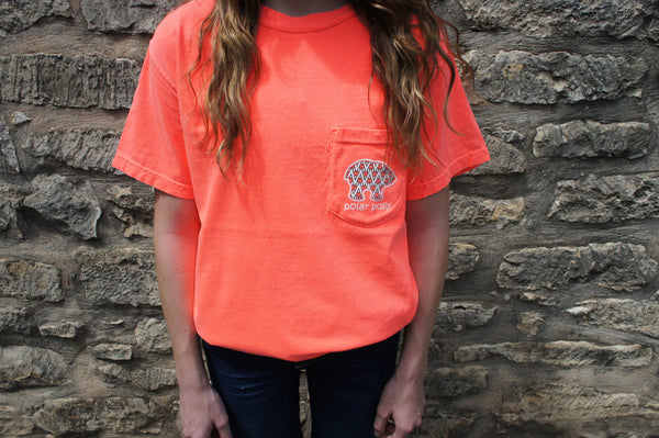 Pocketed Neon Orange Chevron