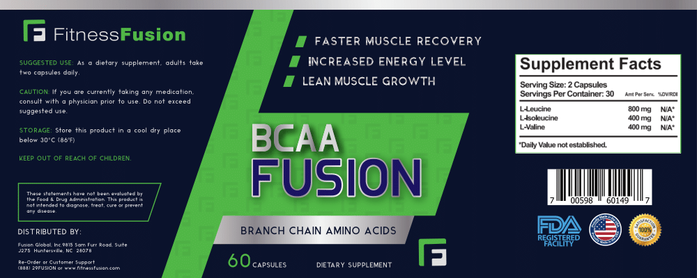 BCAA Supplement for Men & Women by Fitness Fusion - Increased Energy, Recovery, and Power - 100% Natural - Branch Chain Amino Acids Formula for Mass Gain - Beginners and Elite Athletes (60 Capsules)