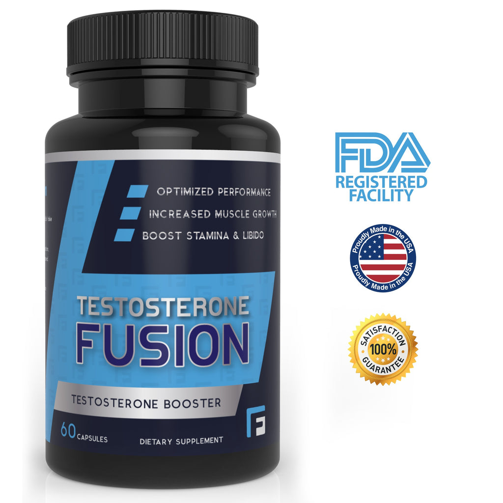 6 Pack of Testosterone Booster with Workout Guide by Fitness Fusion | Natural Test Nutritional Supplement for Increased Performance and Muscle Growth | Improved Stamina, Energy Levels & Sex Drive