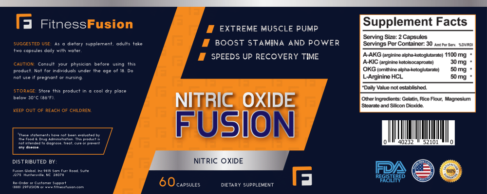 Nitric Oxide Booster Supplement by Fitness Fusion | High Potency Formula with L-Arginine for Higher Oxygen Flow, Increased Energy and Stamina | Boost Performance and Get Long Lasting Muscle Pumps