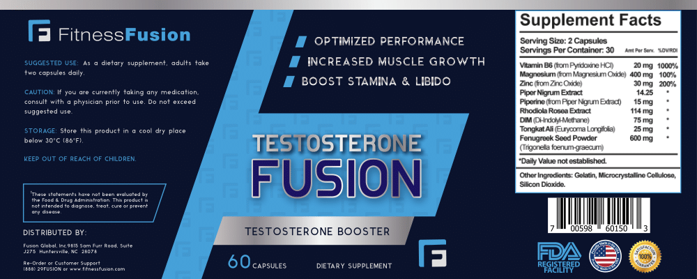 3 Pack of Testosterone Booster with Workout Guide by Fitness Fusion | Natural Test Nutritional Supplement for Increased Performance and Muscle Growth | Improved Stamina, Energy Levels & Sex Drive
