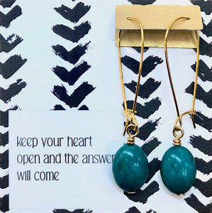 Keep Your Heart Open - Turquoise Ovals