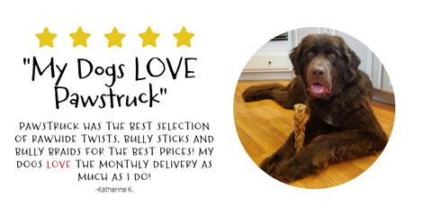 Katherine K. loves Pawstruck's selections of treats for her dog and how easy it is to order online!