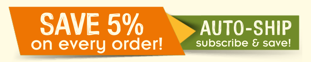 Orange, yellow, and green boxes with text: SAVE 5% on every order with Auto-ship. Subscribe and save!