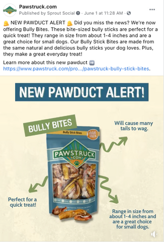 Image of Bag of Bully Stick Bites with text: New Pawduct Alert!