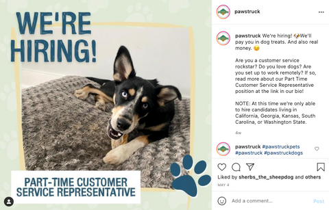 Image of cute puppy looking at camera with the words: We're hiring! Part-time customer service representative.