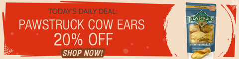 text banner: Today's Daily Deal Cow Ears 20% off SHOP NOW