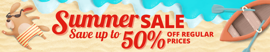 Whimsical beach illustration with a dog and boat. Red text on top: Summer Sale Save up to 50% off Regular Prices