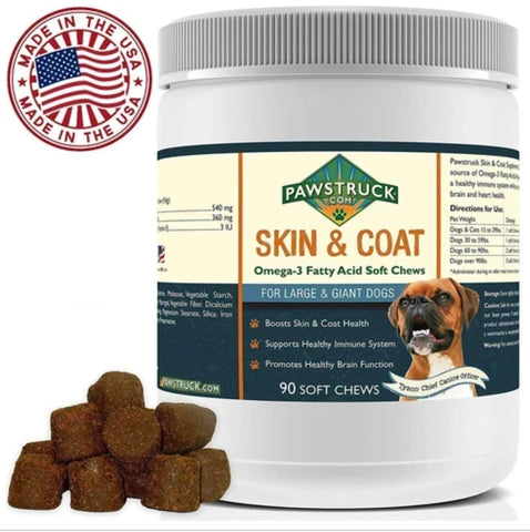 Pawstruck Natural Omega 3 Fish Oil for Dogs & Cats Skin & Coat Soft Chew Supplements