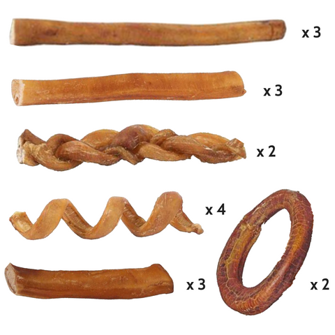 Pawstruck Ultimate Bully Stick Variety Pack (17 pieces) with FREE gift