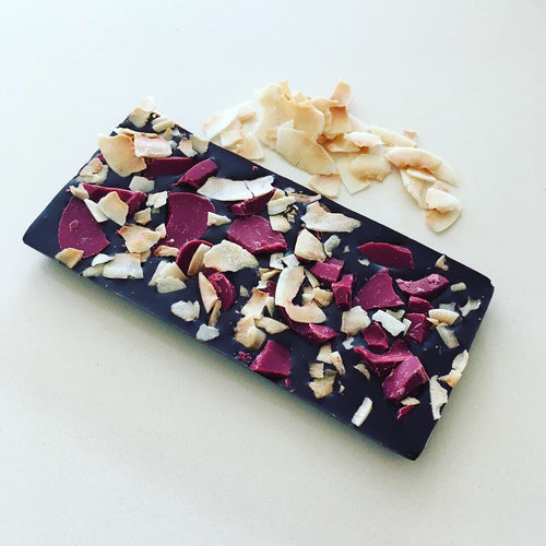 Raspberry & Roasted Coconut Chocolate Bar